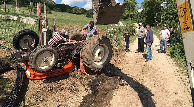Traktör Devrildi:1 Yaralı